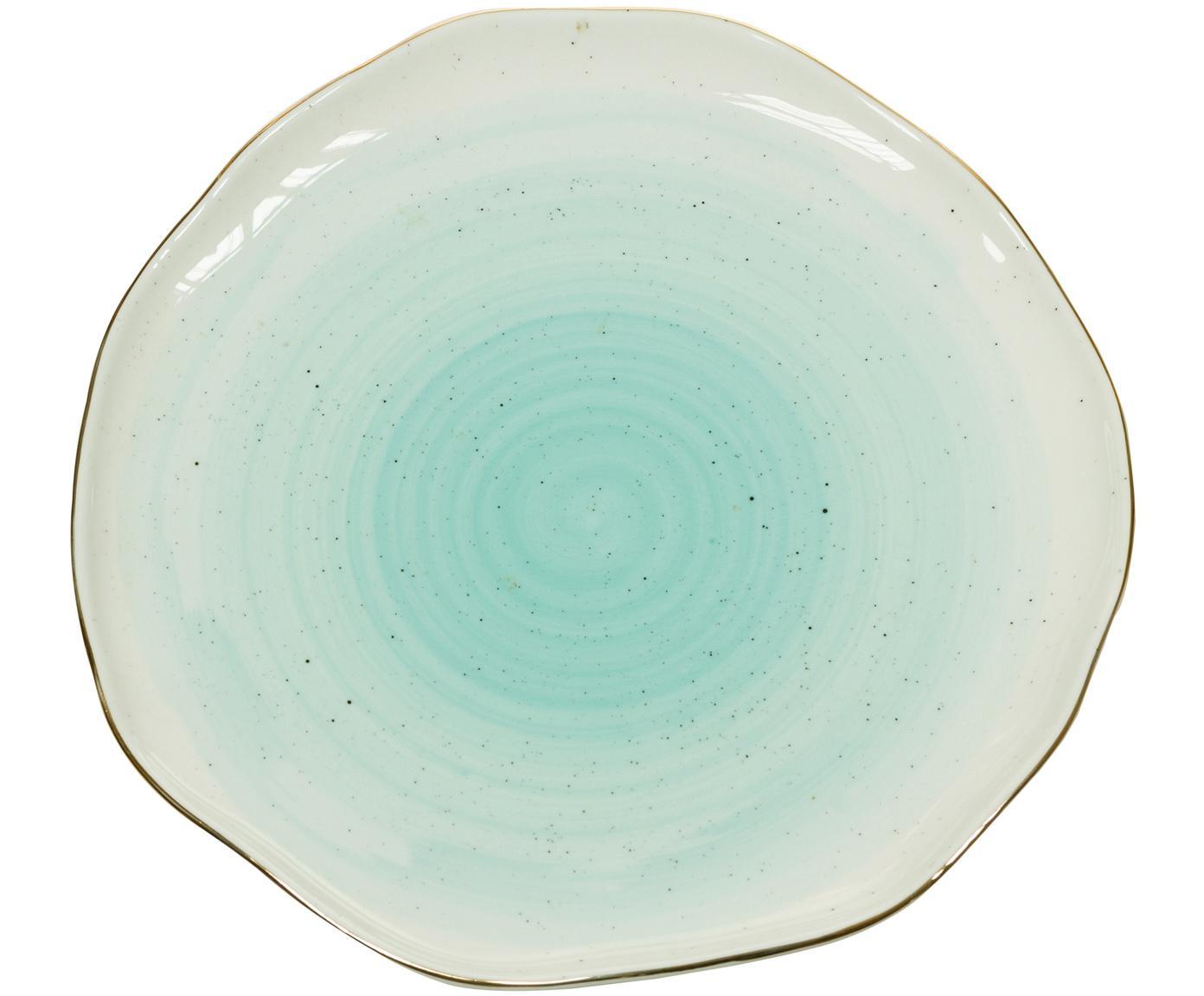Handgefertigte Frühstücksteller Bol mit Goldrand, 2 Stück, Porzellan, Türkisblau, Ø 19 x H 3 cm