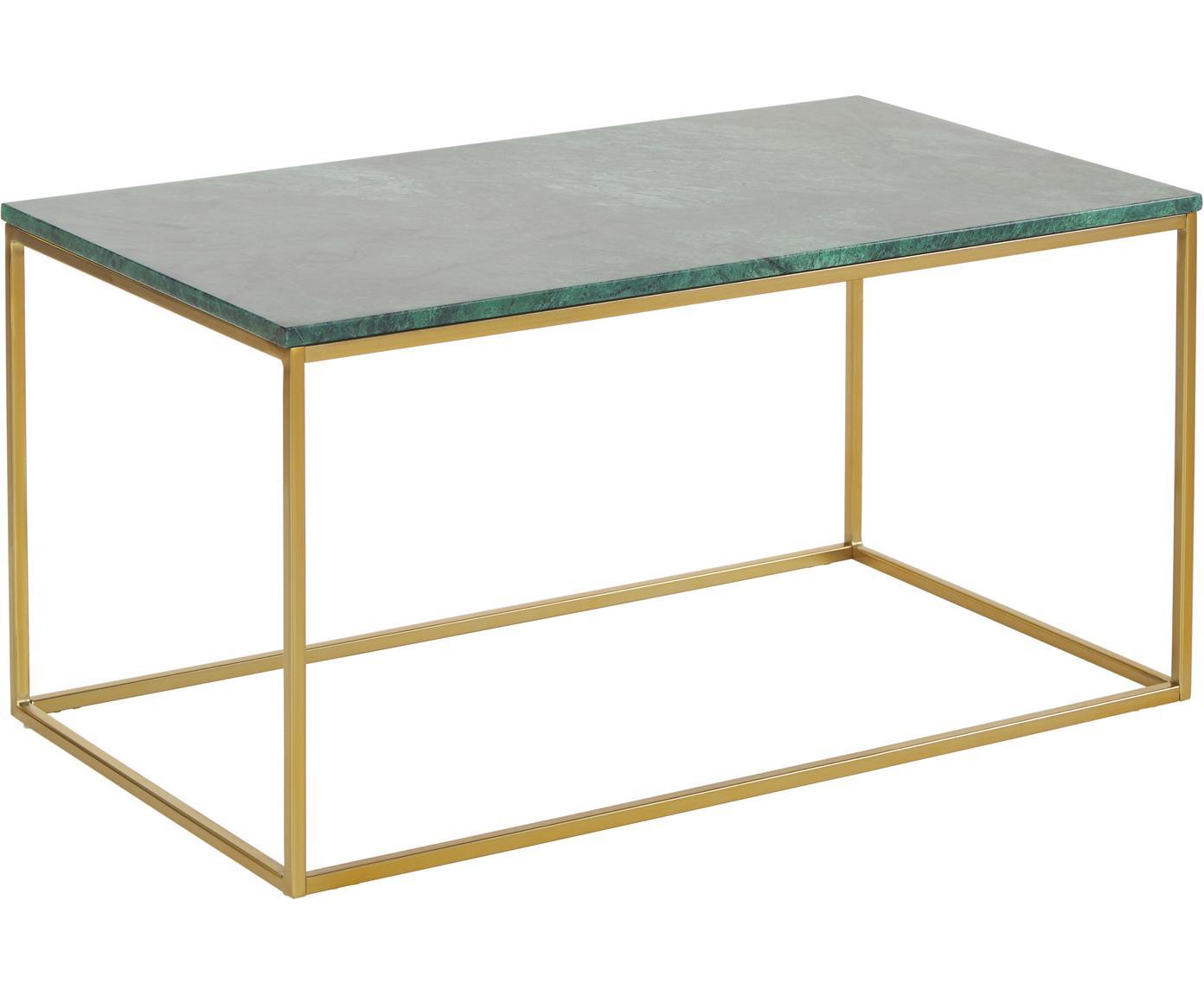 Stolik kawowy z marmuru Alys, Blat: marmur, Stelaż: metal malowany proszkowo, Blat: zielony marmur Stelaż: odcienie złotego, błyszczący, S 80 x W 45 cm