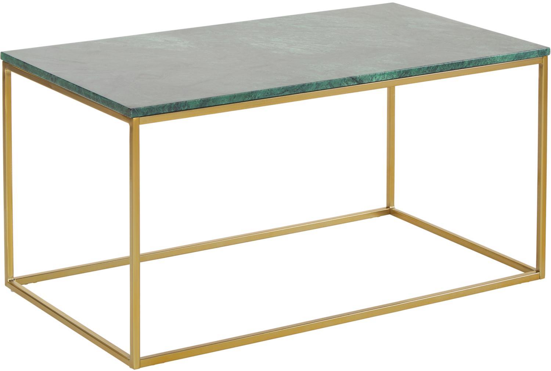 Marmeren salontafel Alys, Tafelblad: marmer, Frame: geborsteld metaal, Tafelblad: groen marmer. Frame: glanzend goudkleurig, 80 x 45 cm