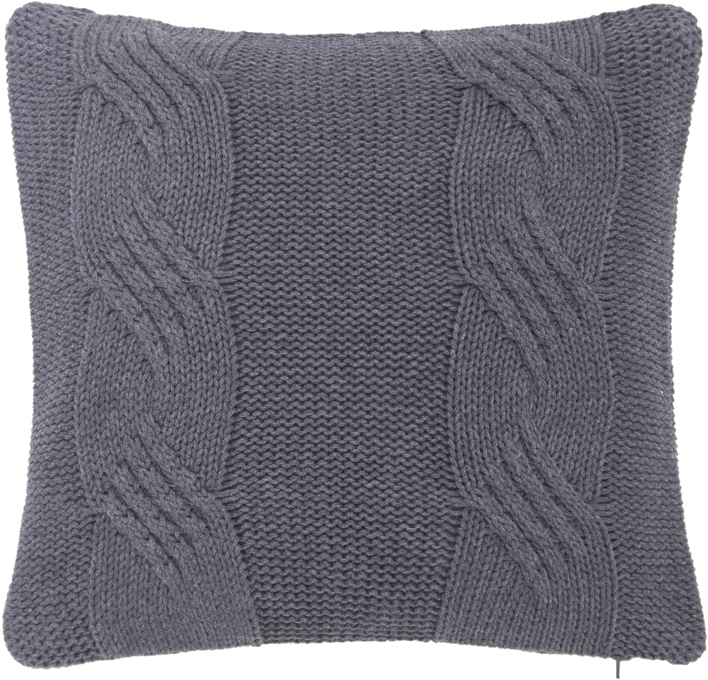 Strick-Kissenhülle Jonah mit leichtem Zopfmuster, 100% Baumwolle, Dunkelgrau, 40 x 40 cm