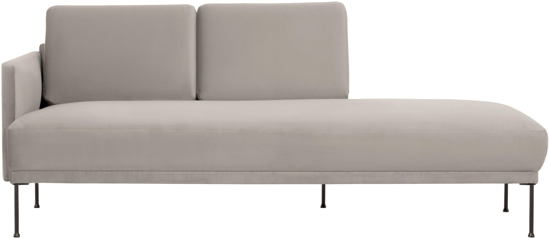 Fluwelen chaise longue Fluente, Bekleding: fluweel (hoogwaardig poly, Frame: massief grenenhout, Poten: gepoedercoat metaal, Fluweel beige, B 202 x D 85 cm