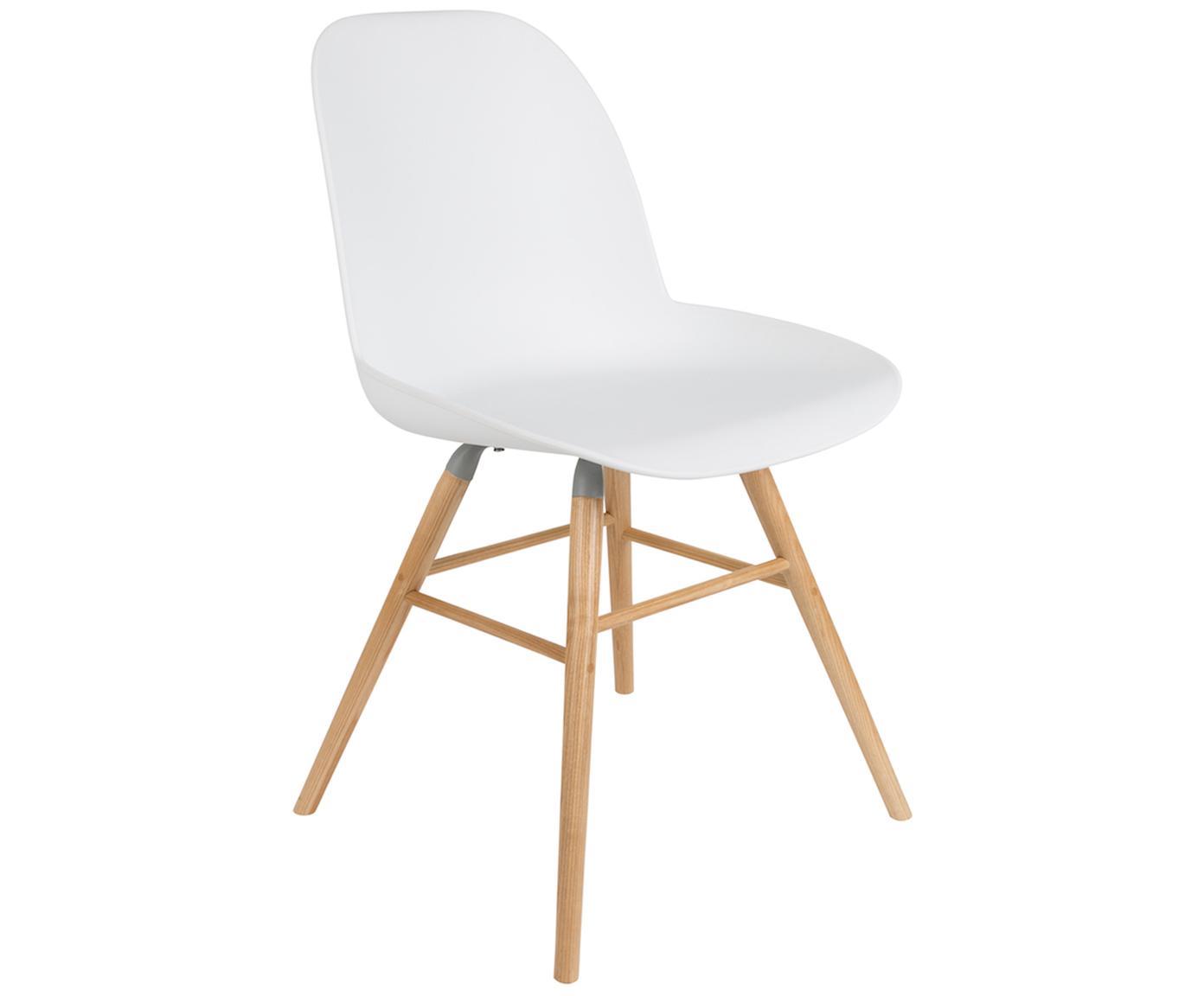 Kunststoffstuhl Albert Kuip mit Holzbeinen, Sitzfläche: 100% Polypropylen, Füße: Eschenholz, Weiß, B 49 x T 55 cm