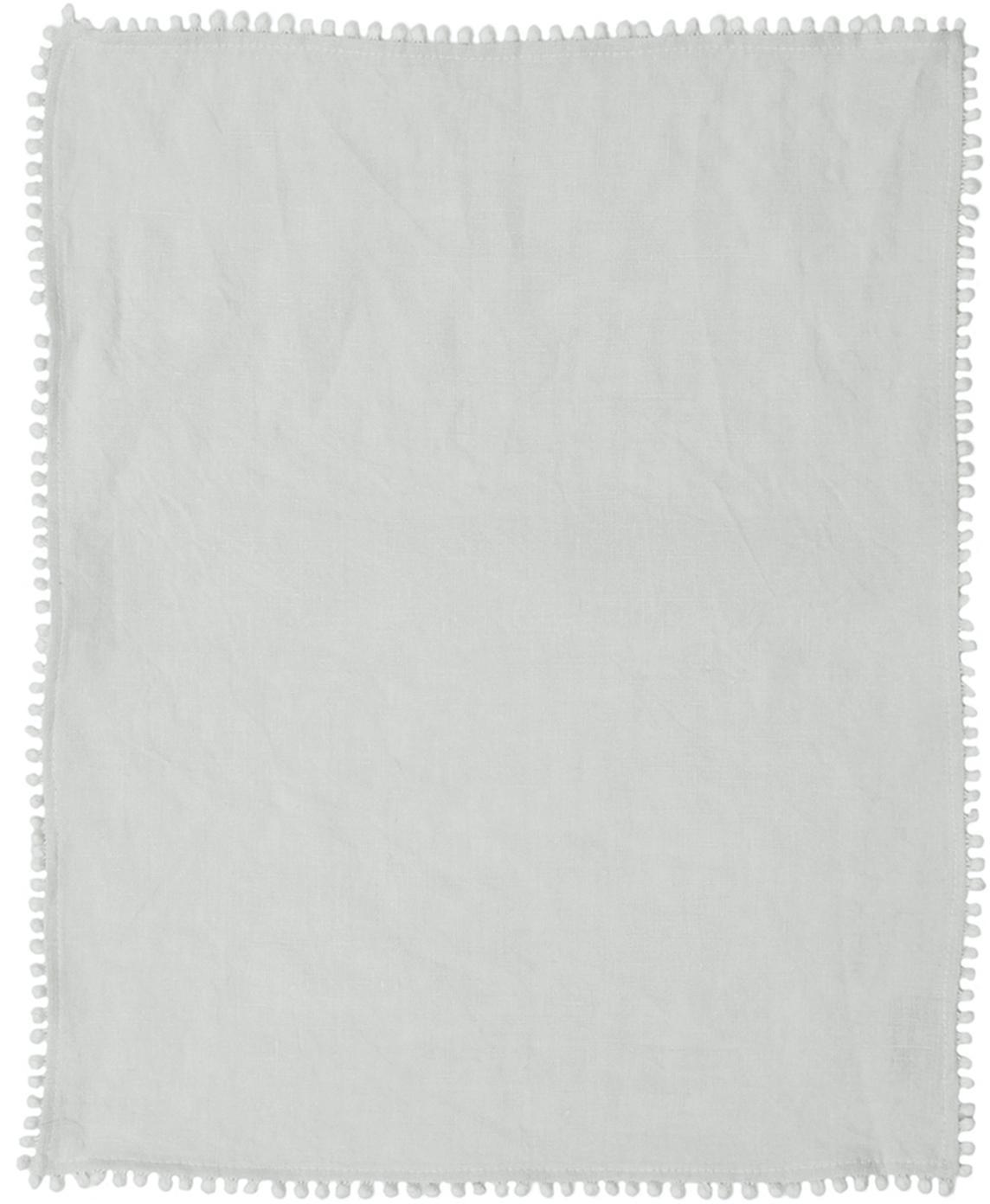 Leinen-Tischsets Pom Pom, 2 Stück, Leinen, Hellgrau, 35 x 45 cm