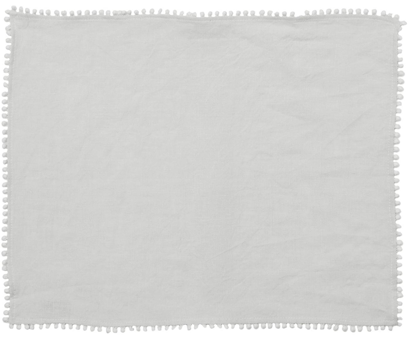 Linnen placemats Pom Pom, 2 stuks, Linnen, Lichtgrijs, 35 x 45 cm