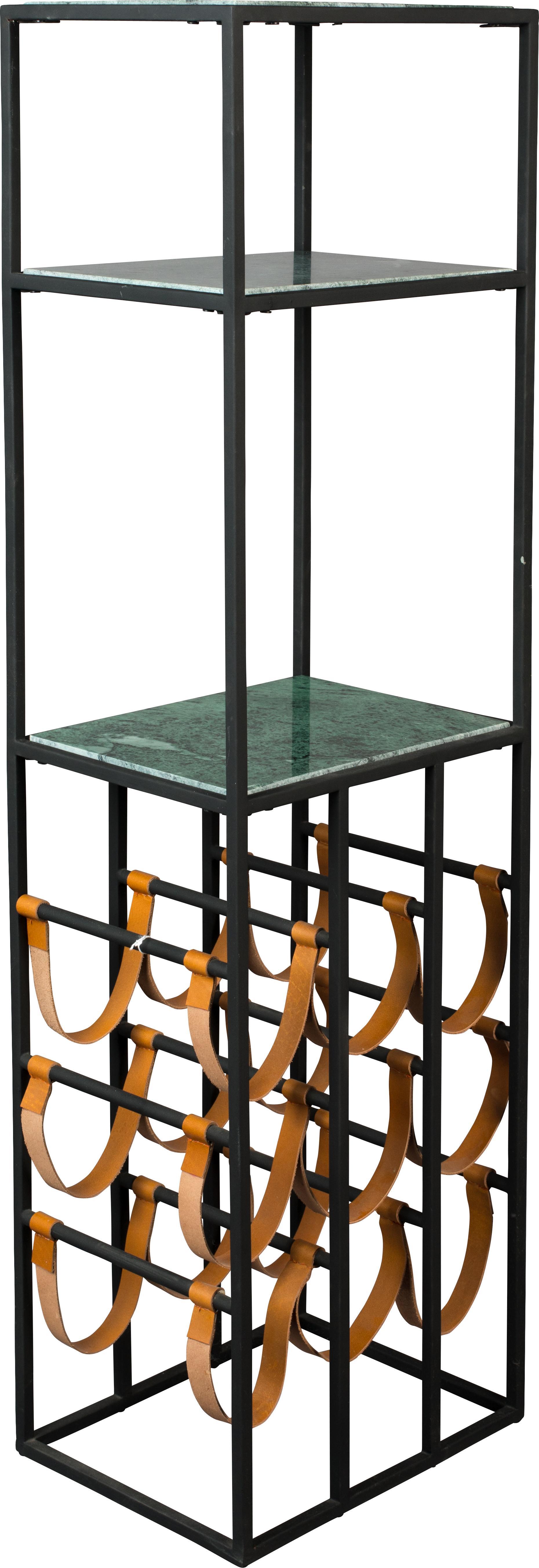 Stojak na wino z marmuru Mil, Stelaż: metal malowany proszkowo, Czarny, zielony, S 36 x W 126 cm