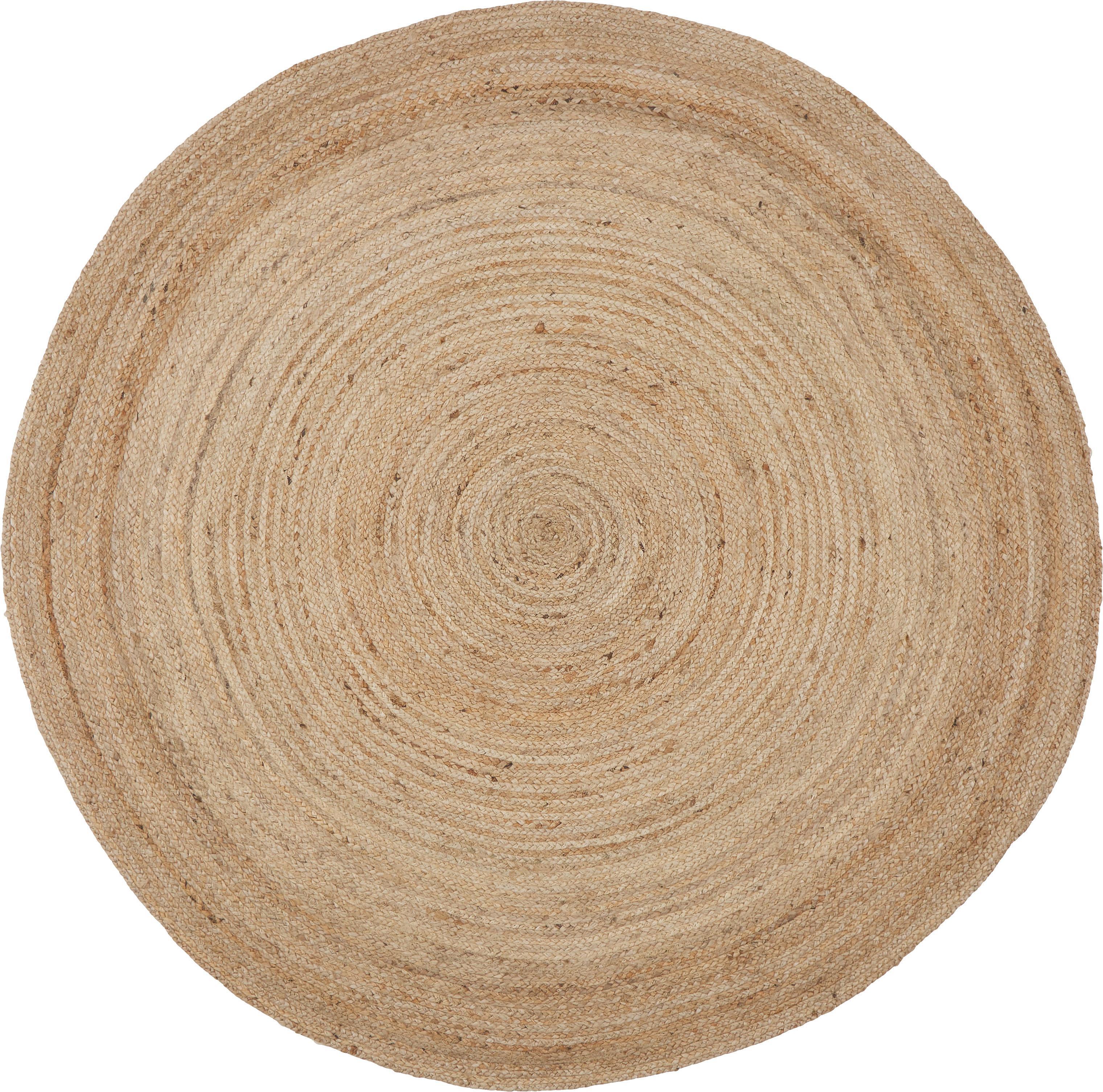 Runder Juteteppich Ural, 100% Jute, Beige, Ø 150 cm (Grösse M)