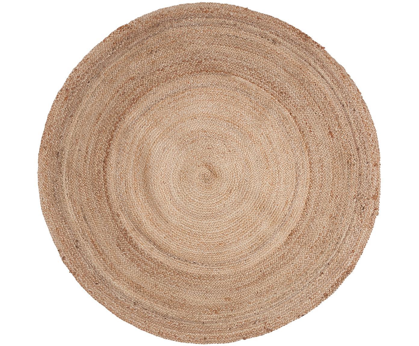 Alfombra redonda de yute Ural, Yute, Beige, Ø 150 cm (Tamaño M)