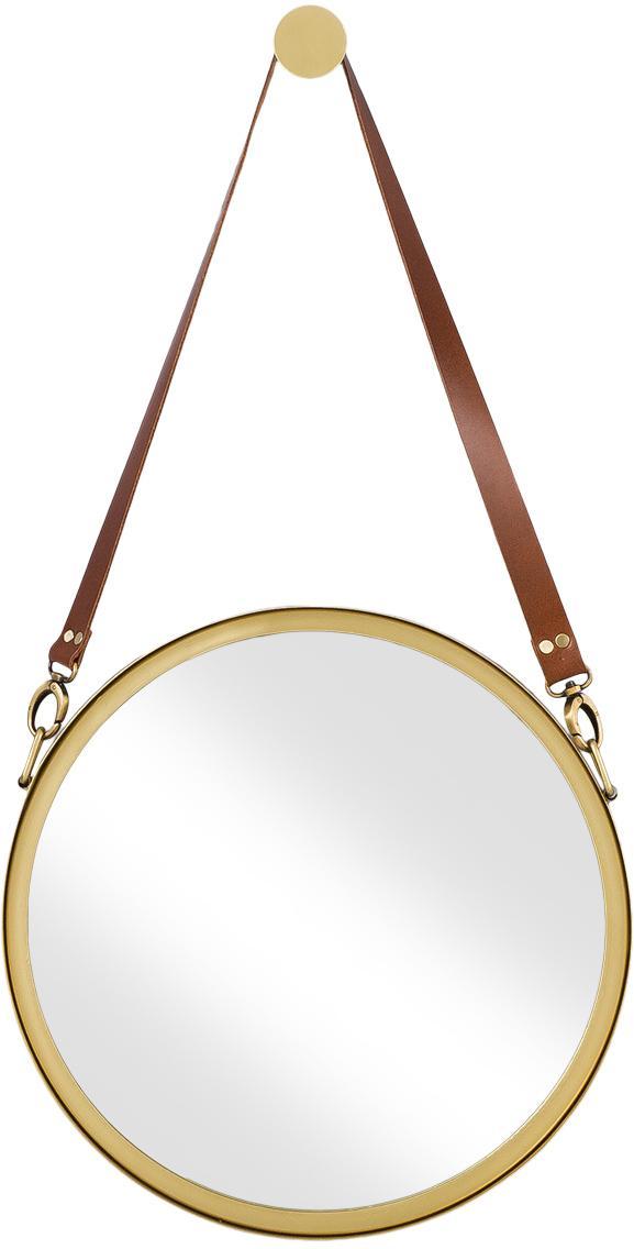Ronde wandspiegel Liz met bruin leren ophangband, Goudkleurig, Ø 40 cm