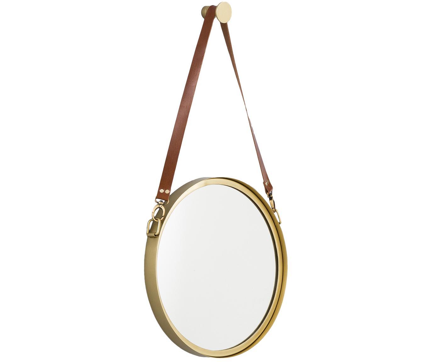 Espejo de pared redondo Liz, con correa de cuero, Espejo: cristal, Dorado, Ø 60 cm