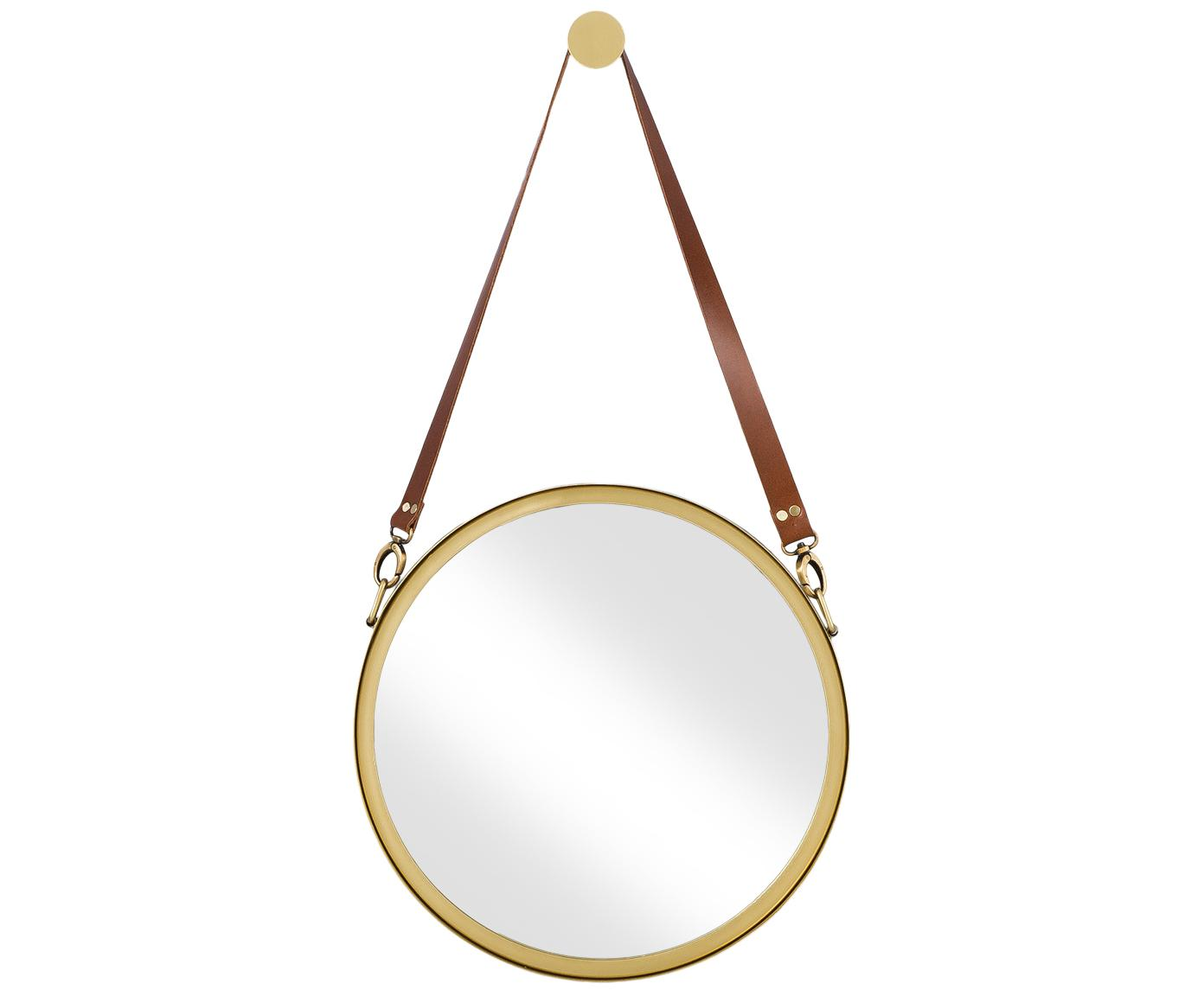 Espejo de pared redondo Liz, con correa de cuero, Espejo: cristal, Parte trasera: tablero de fibras de dens, Dorado, Ø 40 cm
