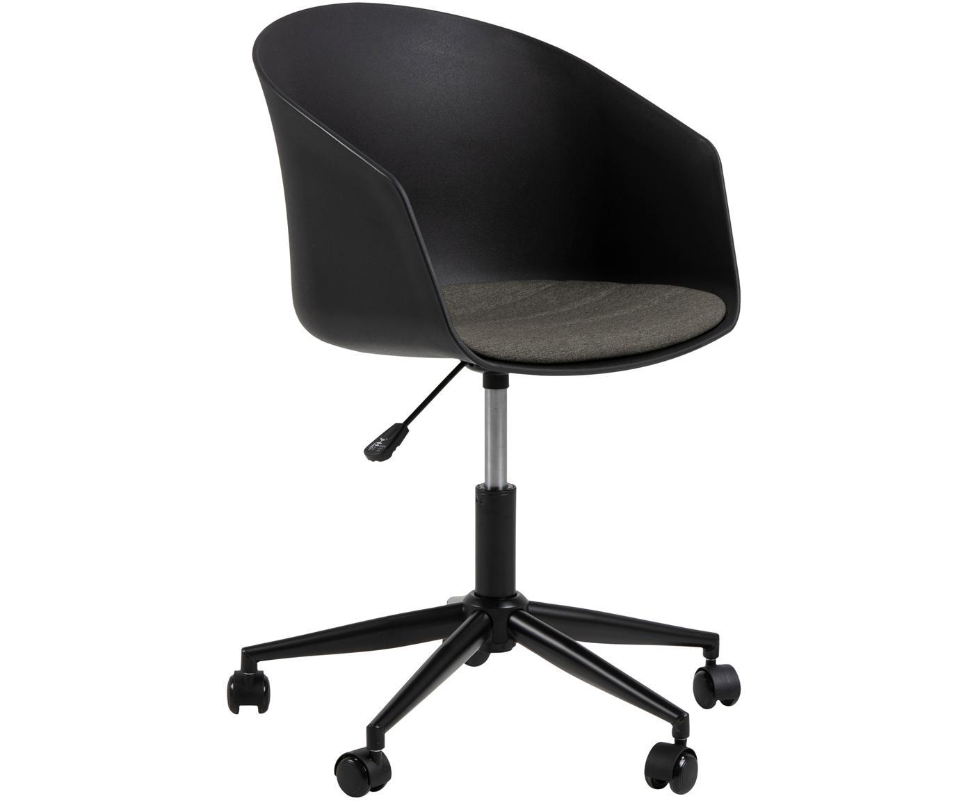 Krzesło biurowe Moon, Polipropylen, tkanina, metal, Czarny, ciemnoszary, S 65 x G 65 cm