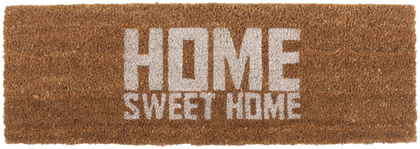 Fußmatte Home Sweet Home, Kokosfasern, Braun, Weiß, 26 x 77 cm