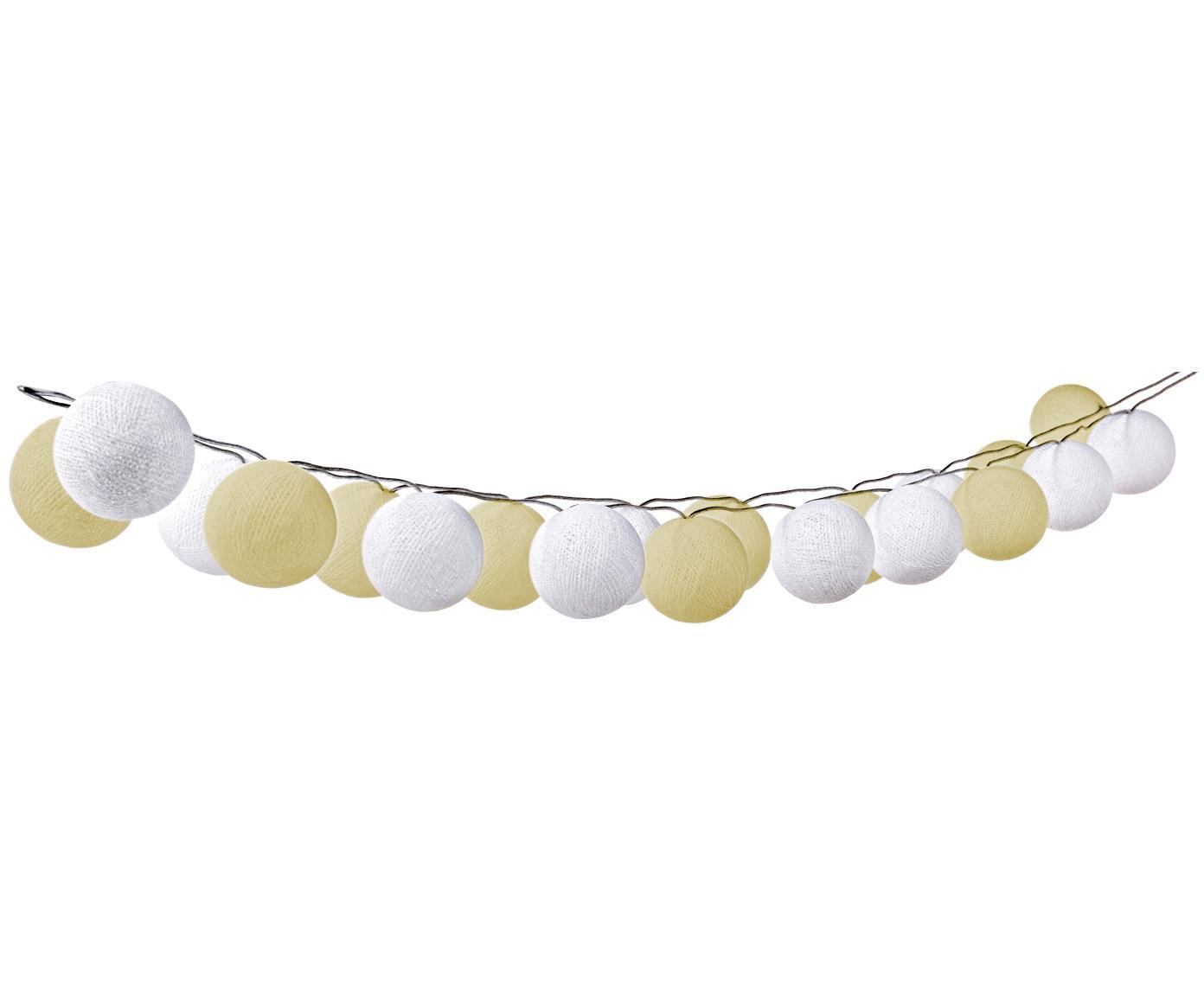 LED Lichterkette Bellin, 320 cm, Lampions: Baumwolle, Creme, Weiß, L 320 cm