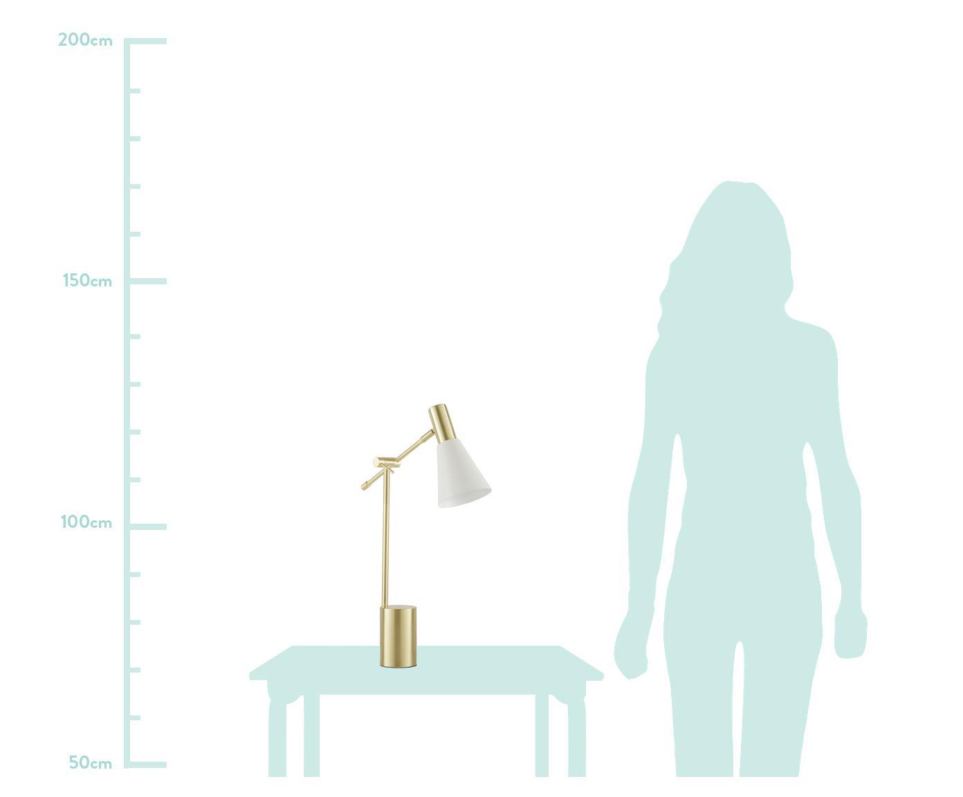 Schreibtischlampe Sia aus Metall, Lampenschirm: Metall, pulverbeschichtet, Lampenfuß: Metall, vermessingt, Weiß,Messingfarben, Ø 13 x H 63 cm