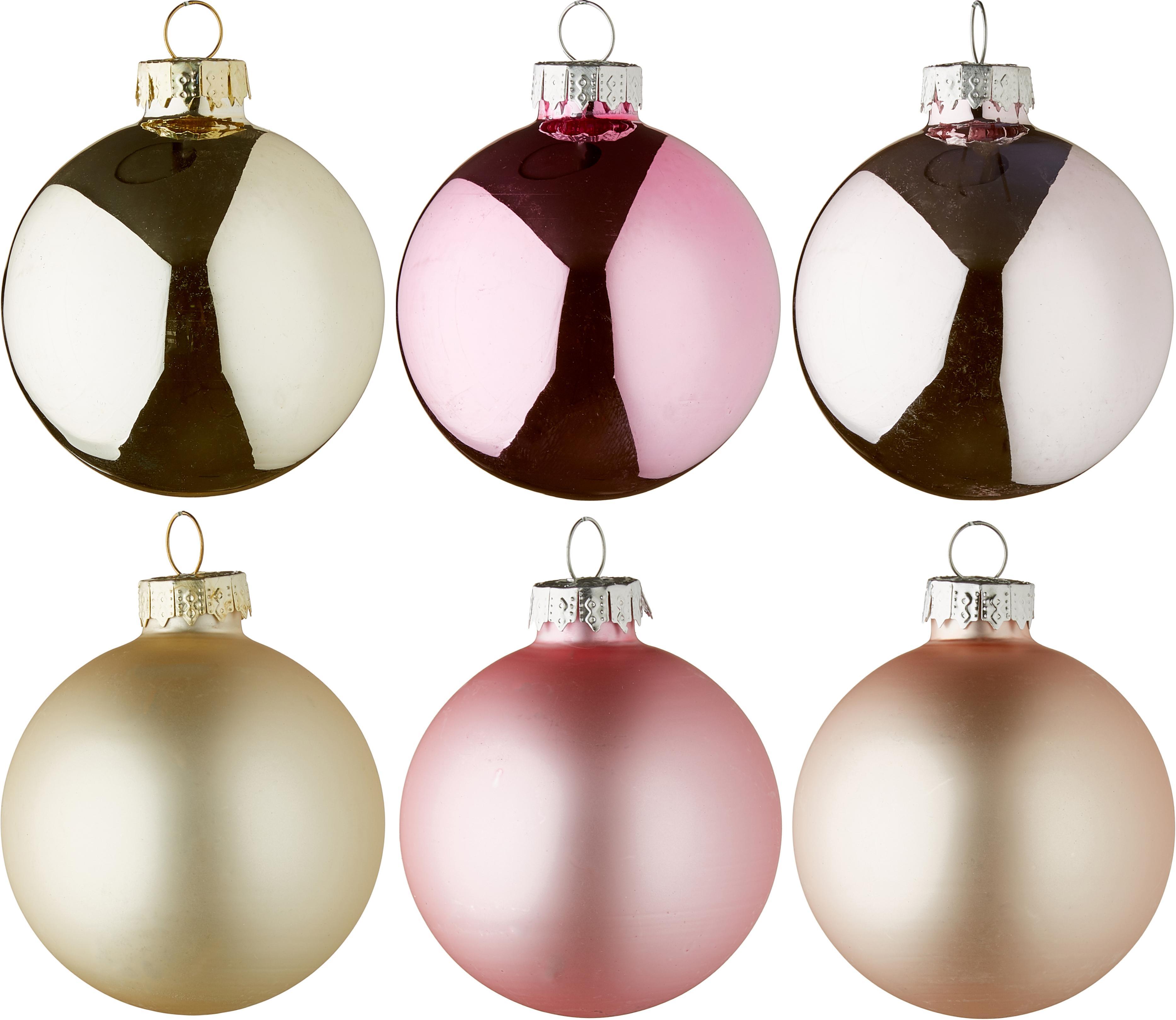 Weihnachtskugel-Set Lorene, 24 tlg., Champagnerfarben, Hellrosa, Rosa, matt und glänzend, Ø 6 cm