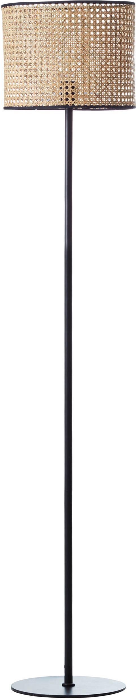 Lampada da terra Wiley, Paralume: rattan, Base della lampada: metallo, Rattan, nero, Ø 30 x Alt. 154 cm