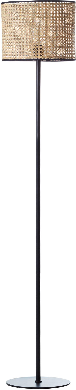 Vloerlamp Wiley, Lampenkap: rotan, Lampvoet: metaal, Rotan, zwart, Ø 30 x H 154 cm