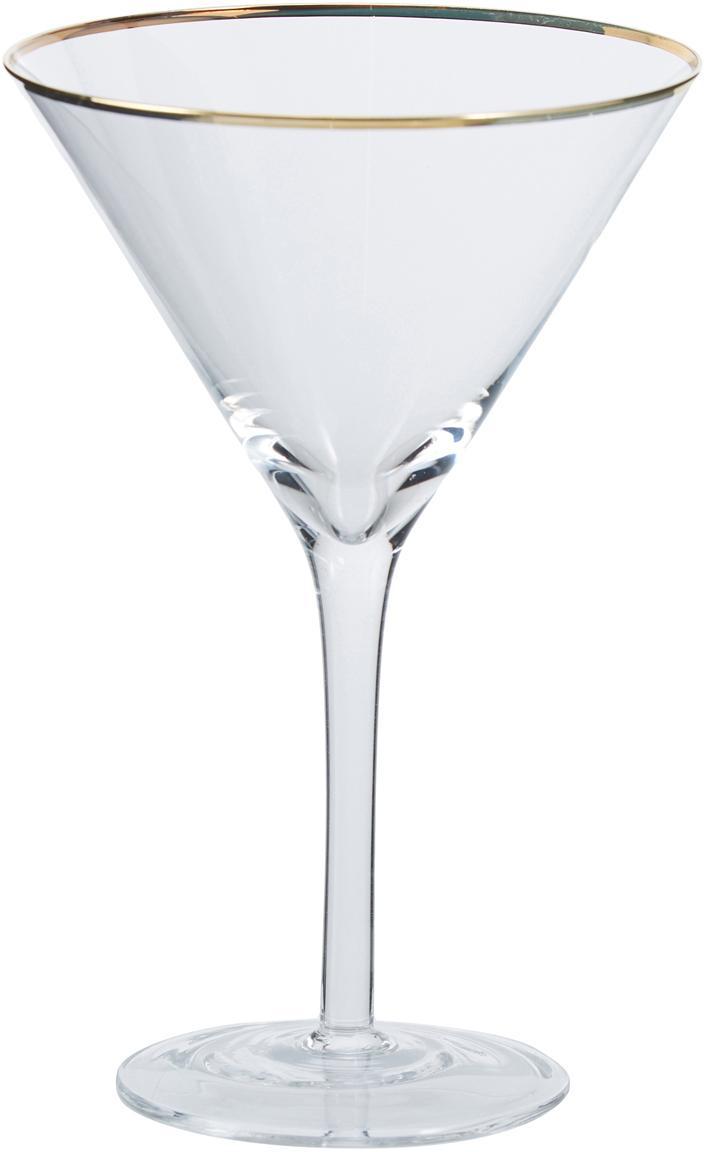 Martinigläser Chloe in transparant met gouden rand, 4er-set, Glas, Transparant, Ø 12 x H 19 cm