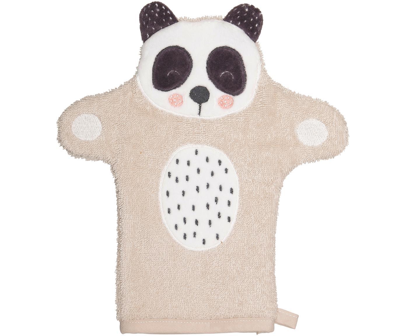 Waschlappen Panda Penny aus Bio-Baumwolle, Bio-Baumwolle, GOTS zertifiziert, Beige, Weiß, Dunkelgrau, 21 x 25 cm