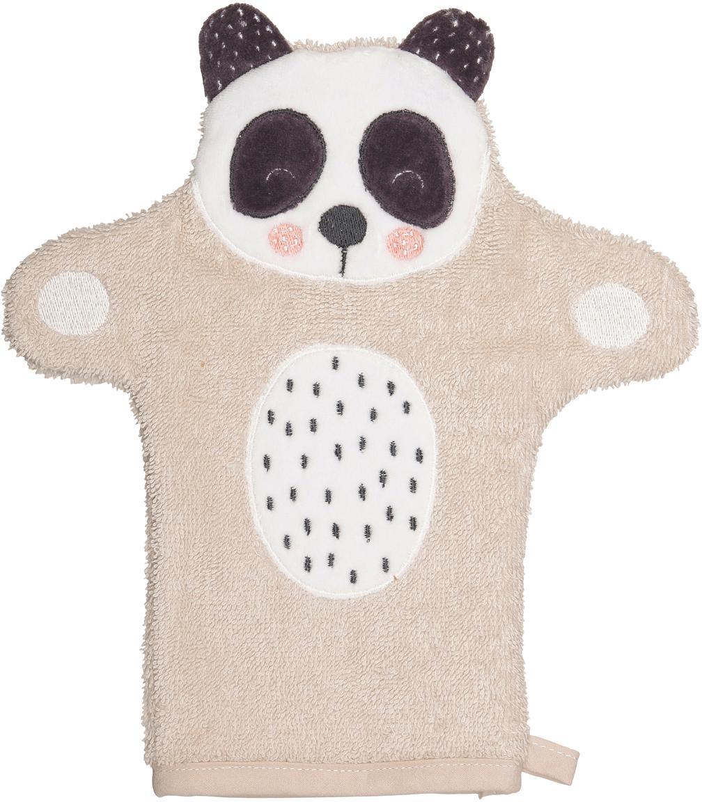 Guanto per il bagnetto in cotone organico Panda Penny, Cotone organico, certificato GOTS, Beige, bianco, grigio scuro, Larg. 11 x Lung. 21 cm