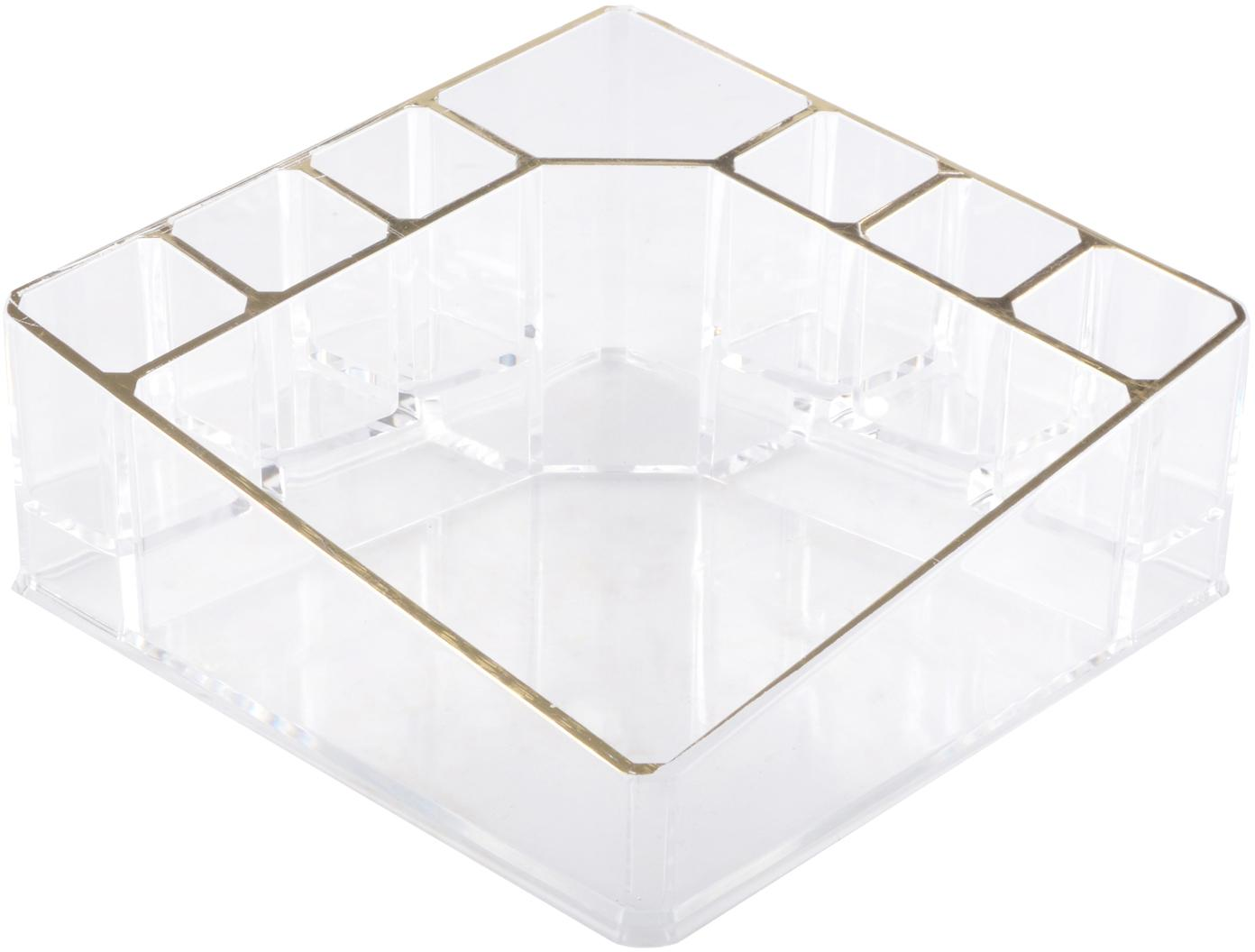 Kosmetik-Organizer Malla, Kunststoff, Transparent, Goldfarben, 14 x 7 cm