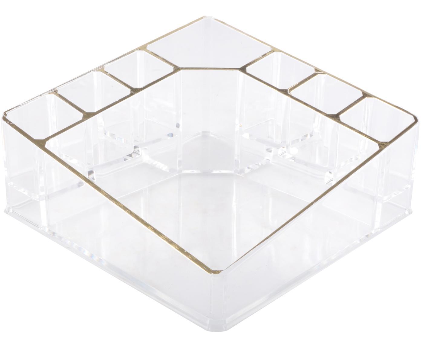 Organizador de cosm'eticos Malla, Plástico, Transparente, dorado, An 14 x Al 7 cm