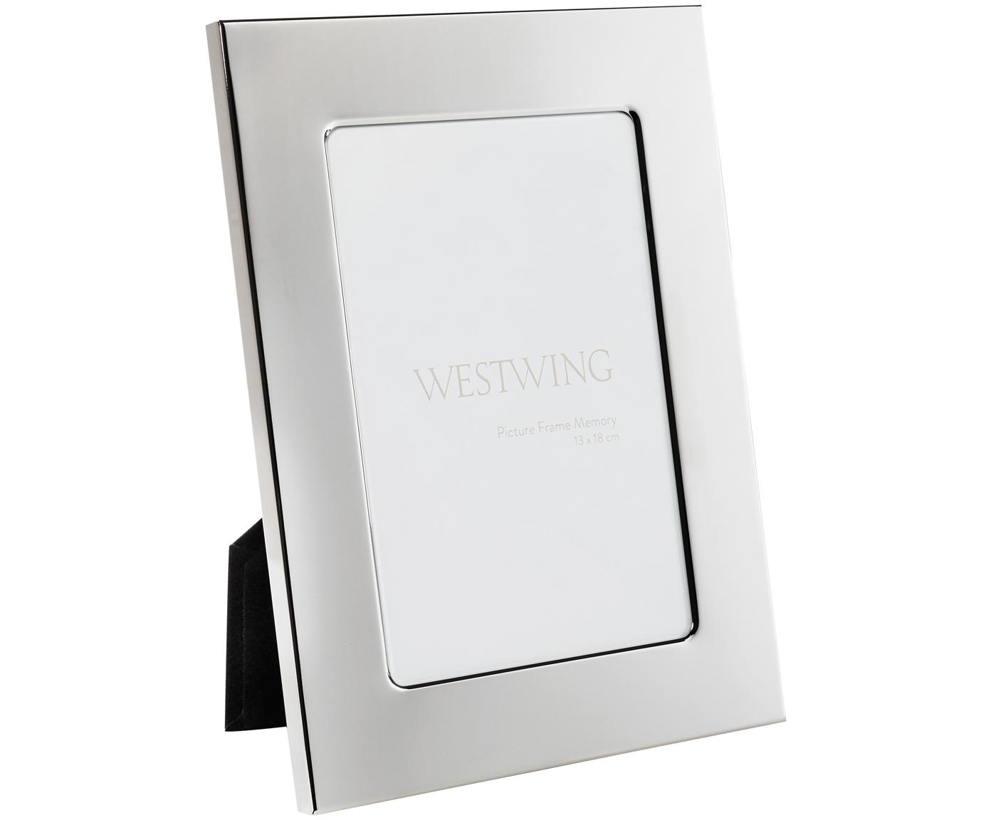 Bilderrahmen Memory, Rahmen: Metall, vernickelt, Front: Glas, spiegelnd, Rückseite: Holz, Samt, Silber, 13 x 18 cm