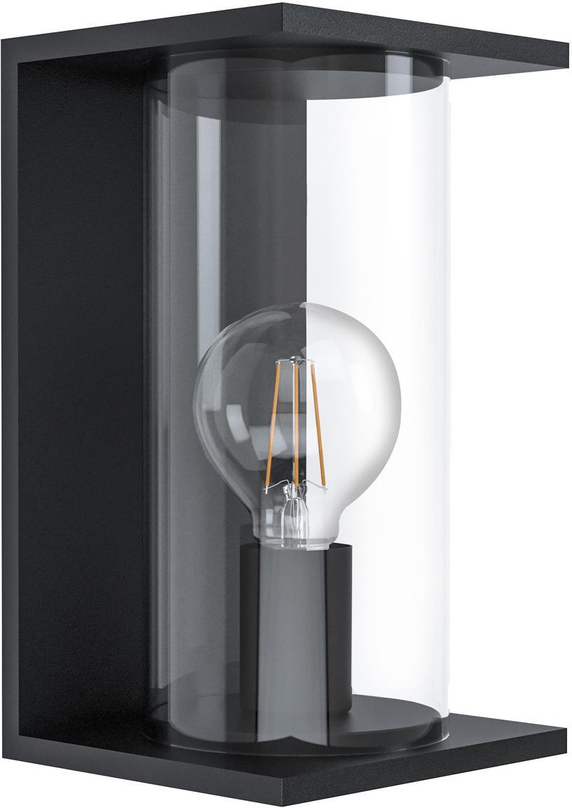 Applique da esterno Cascinetta, Acciaio zincato, vetro, Nero, trasparente, Larg. 17 x Alt. 28 cm