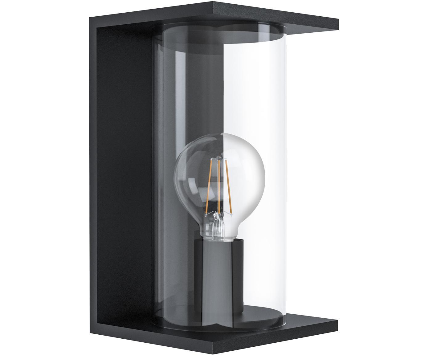 Outdoor wandlamp Cascinetta, Verzinkt staal, glas, Zwart, transparant, 17 x 28 cm
