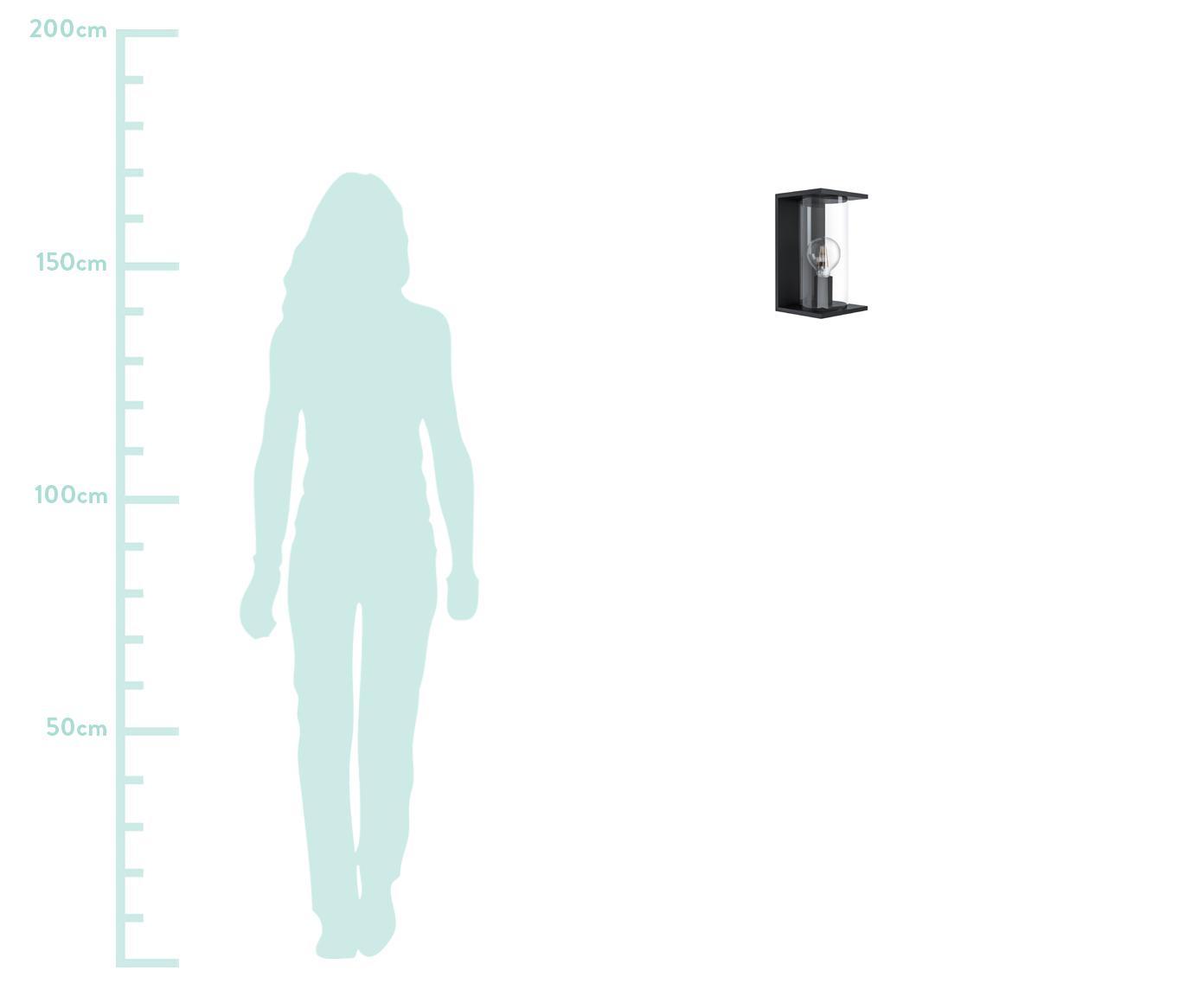Kinkiet zewnętrzny Cascinetta, Stal, ocynkowana, szkło, Czarny, transparentny, S 17 x W 28 cm
