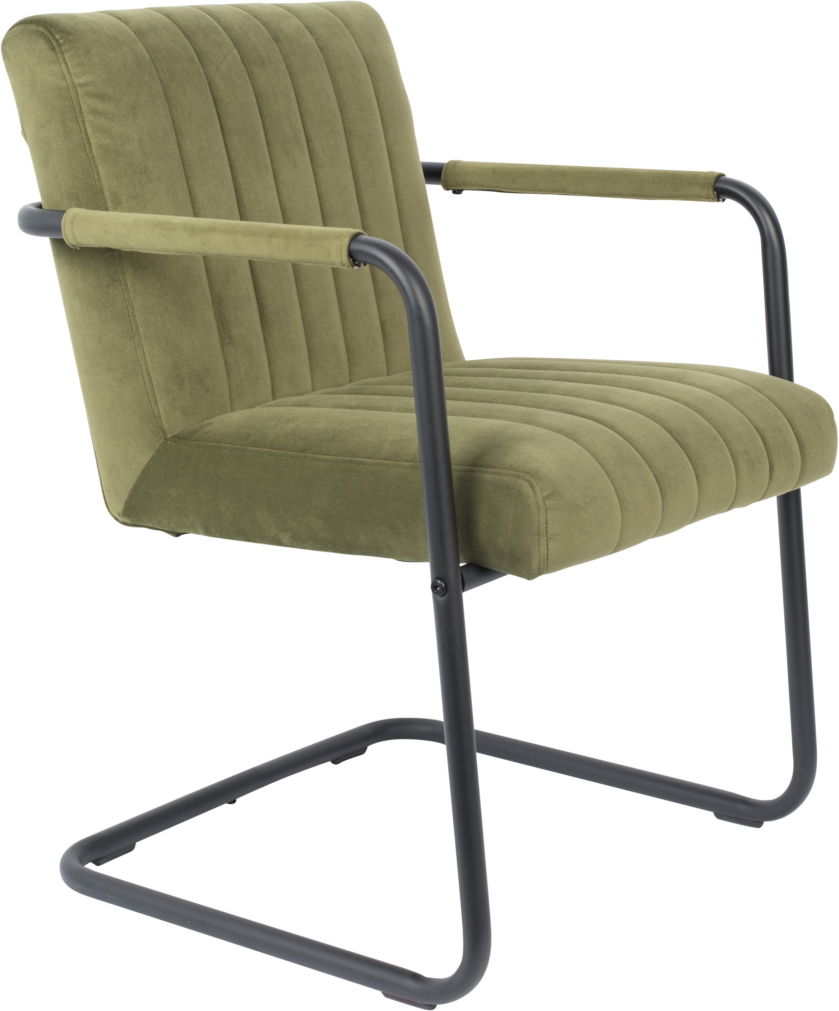 Samt-Freischwinger Stuhl Stitched mit Armlehne, Bezug: Polyestersamt 100.000 Sch, Gestell: Metall, pulverbeschichtet, Olivgrün, B 58 x T 66 cm