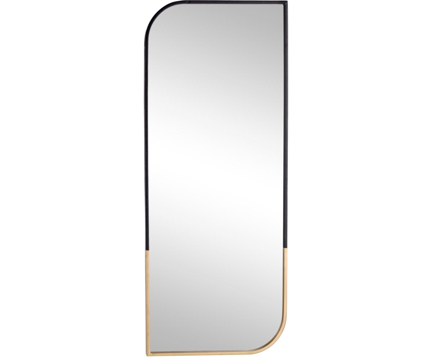 Specchio da parete Reflix, Cornice: metallo rivestito, Superficie dello specchio: lastra di vetro, Nero, dorato, Larg. 41 x Alt. 100 cm