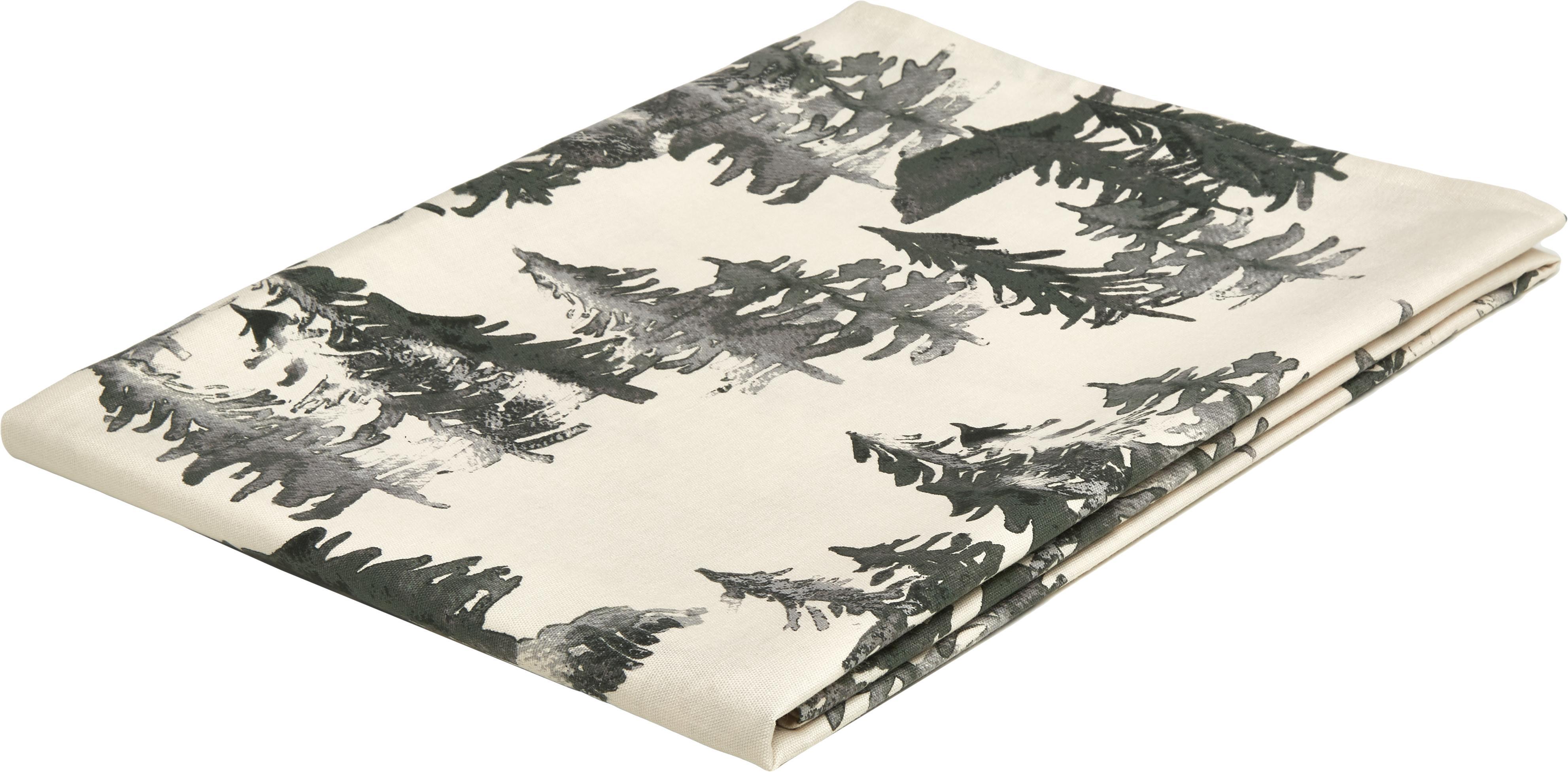 Tovaglia Forrest, 100% cotone da coltivazione sostenibile, Crema, tonalità verdi e grigie, Larg. 145 x Lung. 200 cm