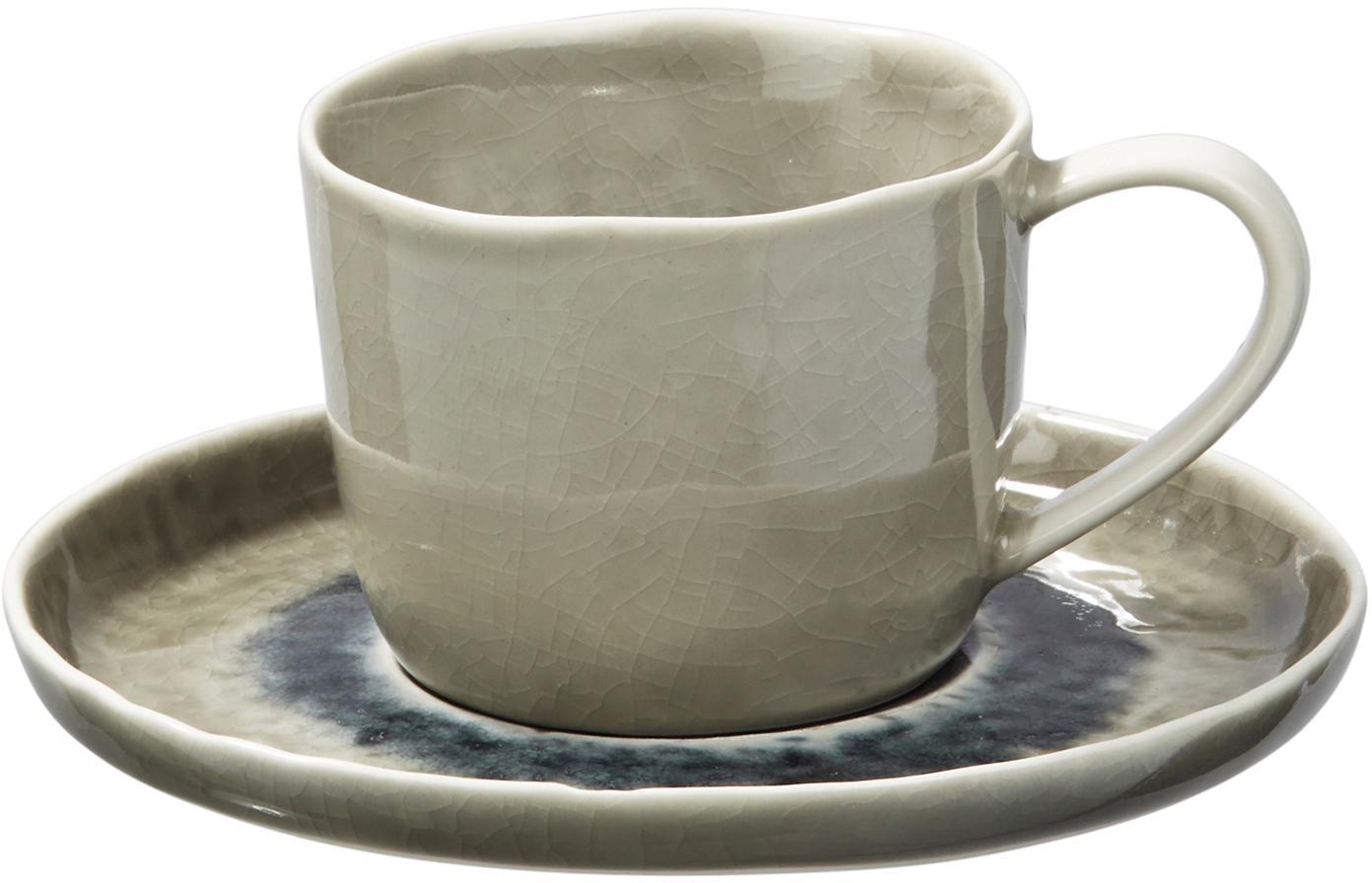 Kopje met schoteltje Porcelino Sea, 6 stuks, Porselein, Grijsgroen, beige, donkergrijs, Ø 15 x H 8 cm