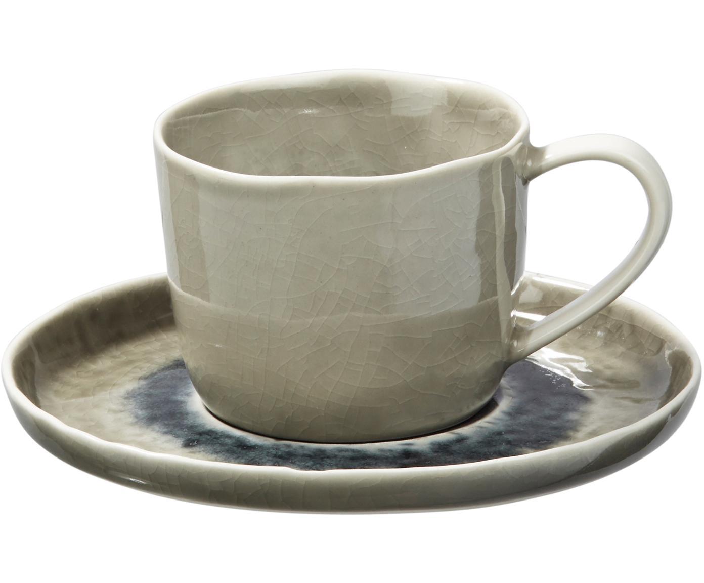 Tasse mit Untertasse Porcelino Sea in Graugrün/Beige, 6 Stück, Porzellan, Graugrün, Beige, Dunkelgrau, Ø 15 x H 8 cm