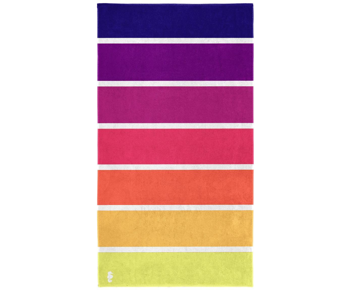 Telo mare a righe Marbella, Cotone, Giallo, arancione, rosa, lilla, viola, Larg. 100 x Lung. 180 cm