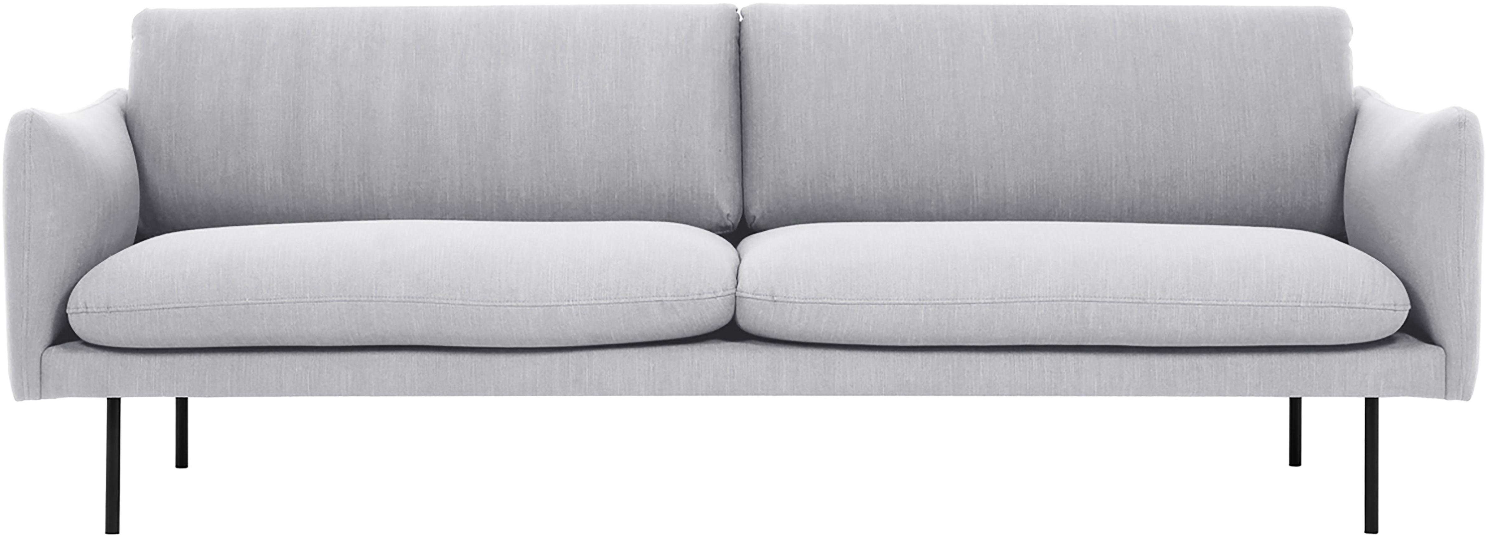 Sofa Moby (3-Sitzer), Bezug: Polyester 60.000 Scheuert, Gestell: Massives Kiefernholz, Füße: Metall, pulverbeschichtet, Webstoff Hellgrau, B 220 x T 95 cm