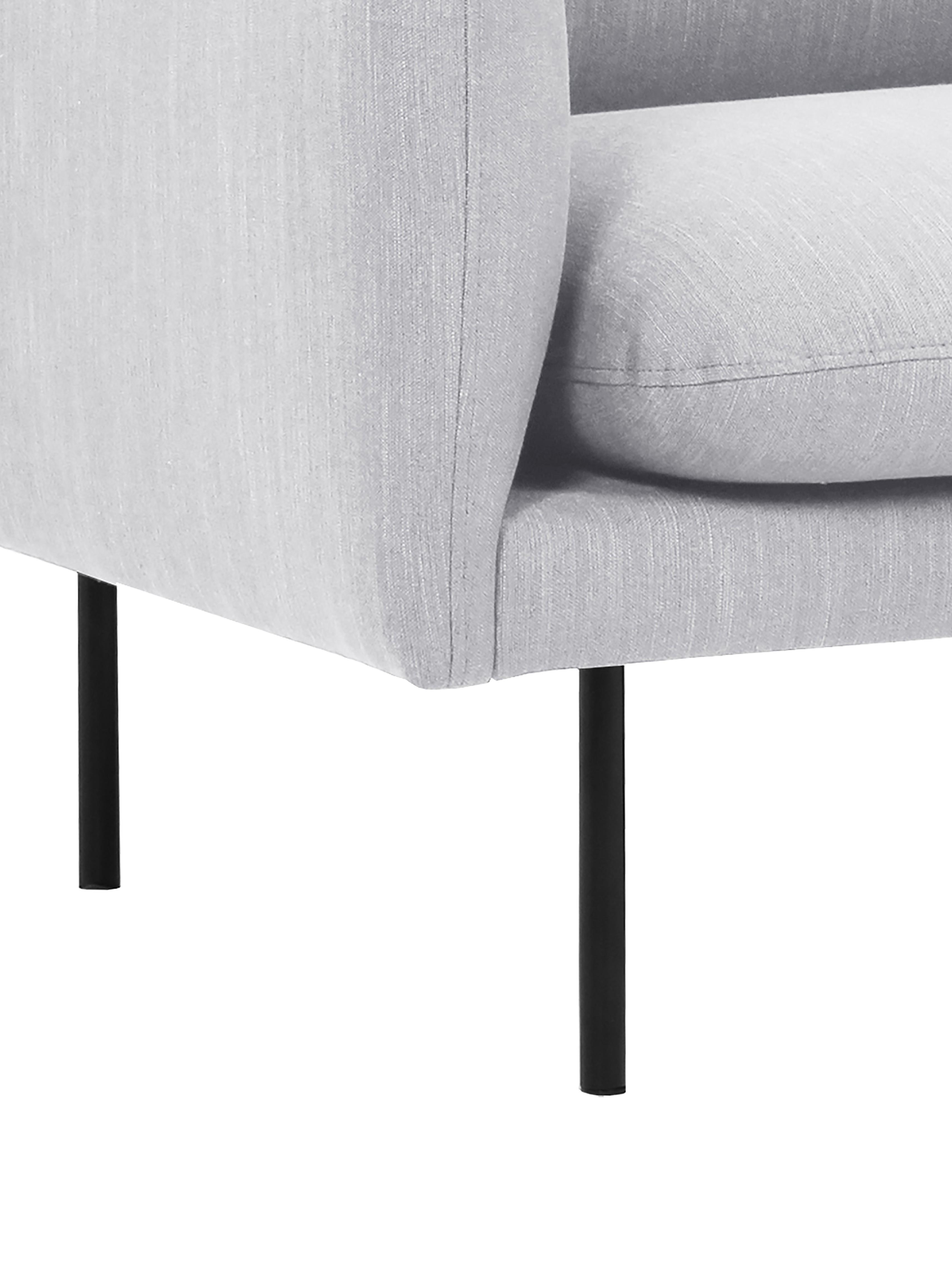 Sofa Moby (3-Sitzer), Bezug: Polyester Der hochwertige, Gestell: Massives Kiefernholz, Füße: Metall, pulverbeschichtet, Webstoff Hellgrau, B 220 x T 95 cm