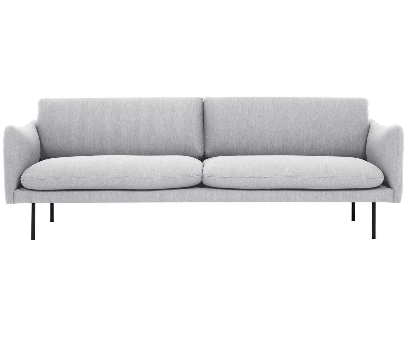 Bank Moby (3-zits), Bekleding: polyester, Frame: massief grenenhout, Poten: gepoedercoat metaal, Lichtgrijs, B 220 x D 95 cm