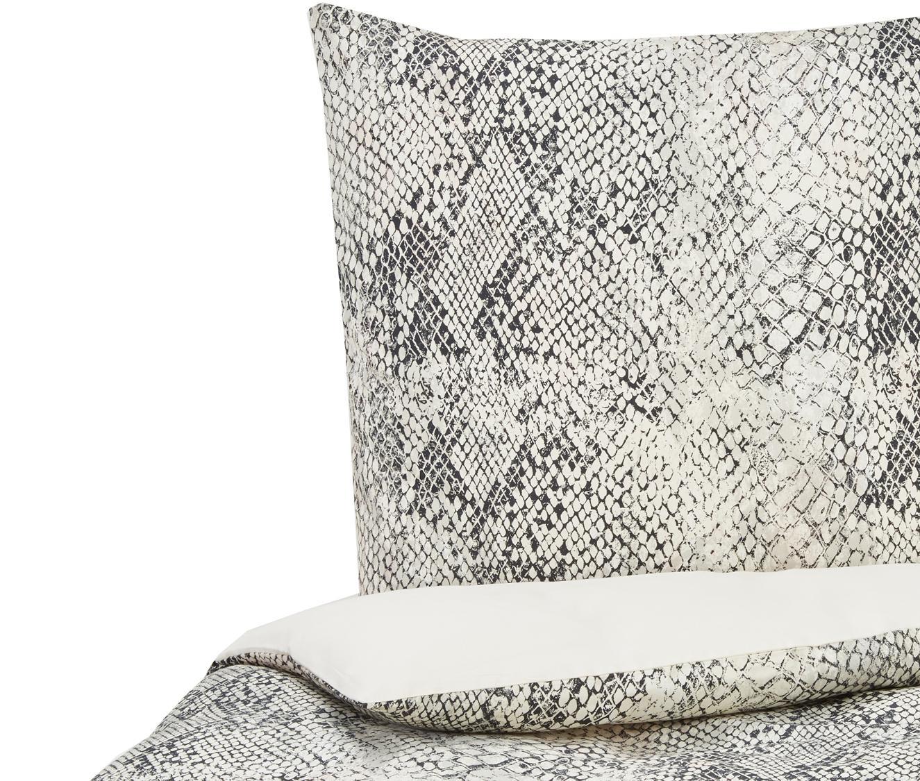 Baumwollsatin-Bettdeckenbezug Doutzen mit Schlangen-Muster, Webart: Satin Fadendichte 215 TC,, Sandfarben, Anthrazit, 135 x 200 cm + 1 Kissen 80 x 80 cm