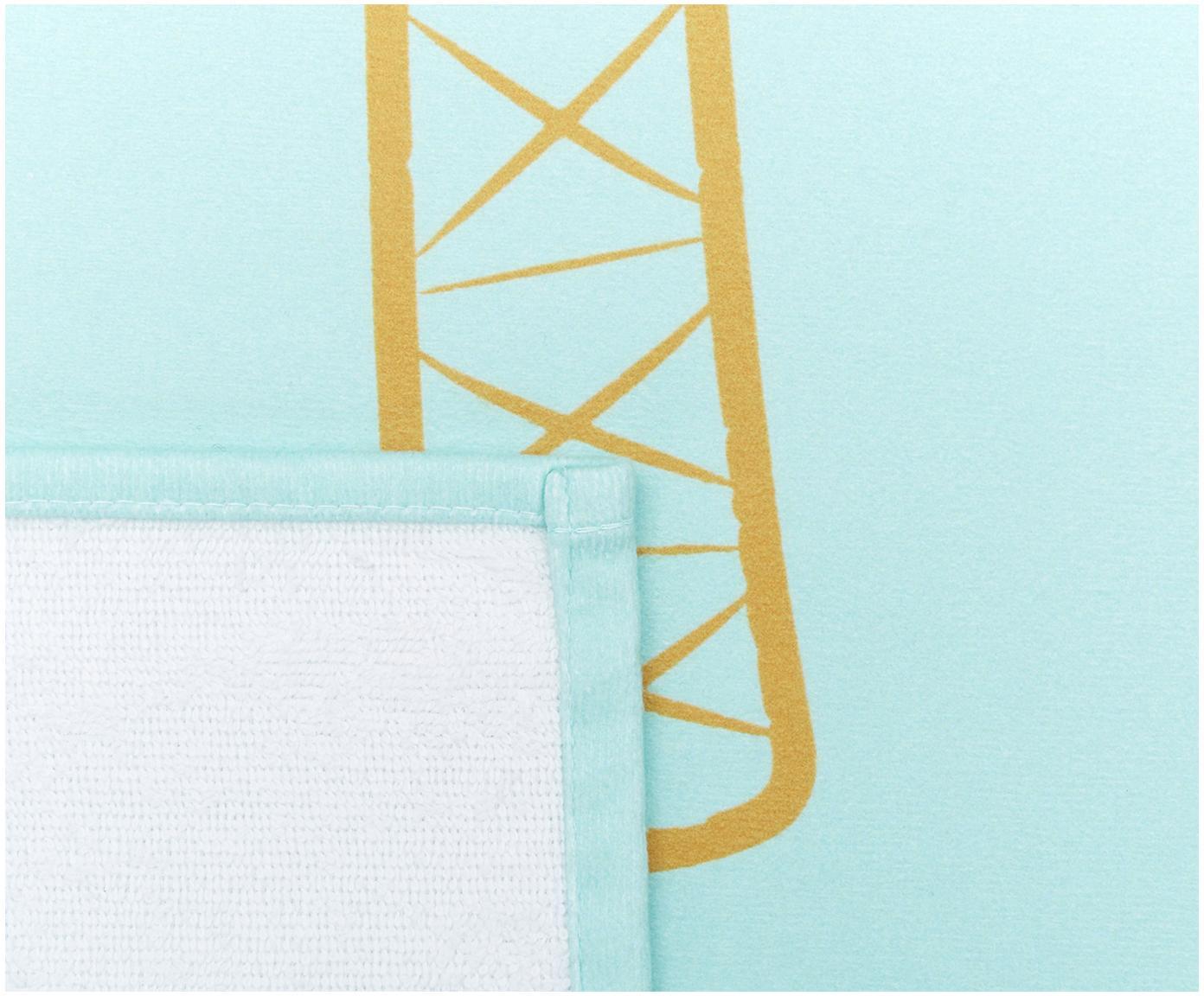 Ręcznik plażowy Palmtree, 55% poliester, 45% bawełna Bardzo niska gramatura, 340 g/m², Turkusowy, żółty, S 70 x D 150 cm