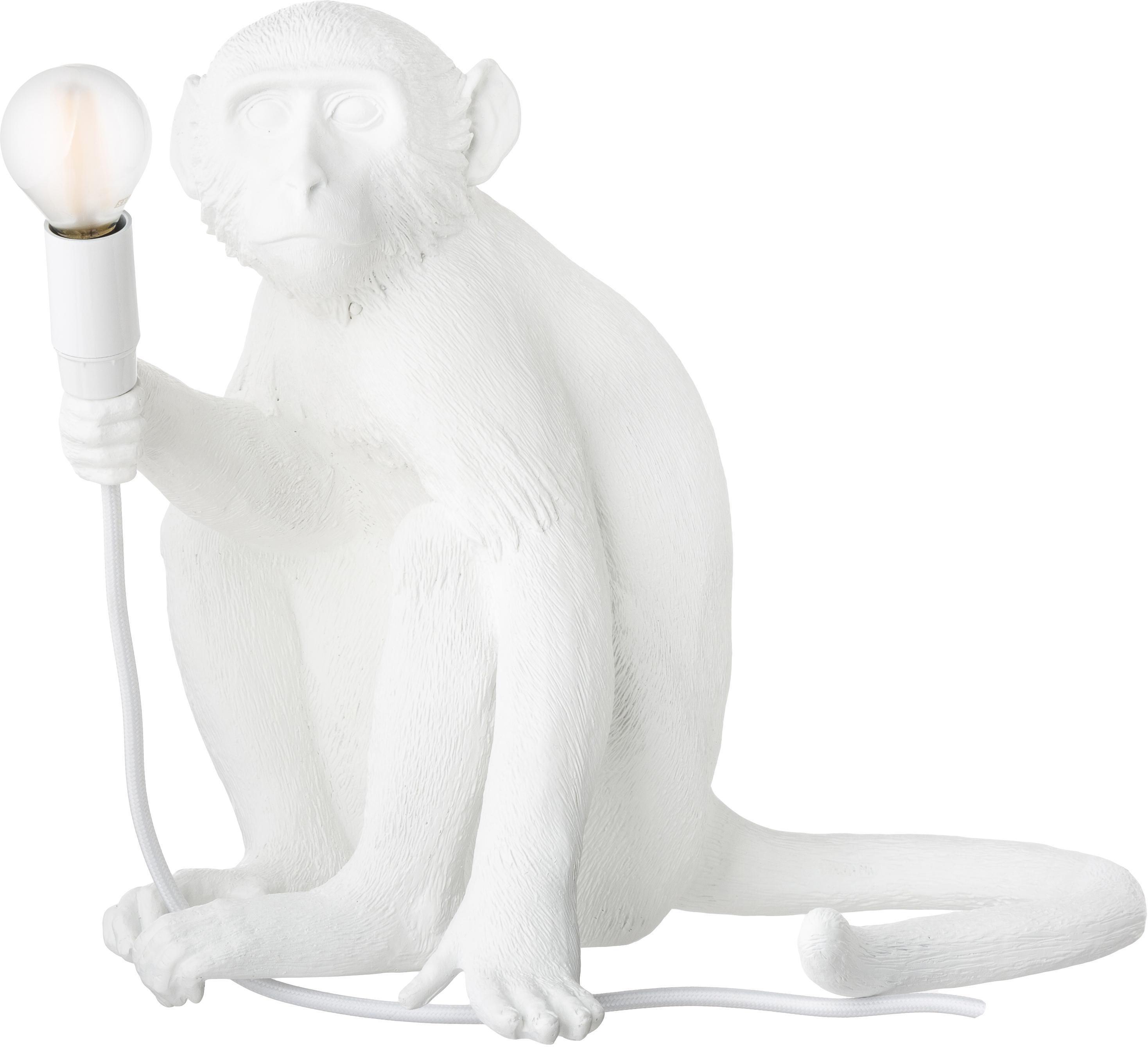 Lampada da tavolo a LED Monkey, Lampada: resina sintetica, Bianco, Larg. 34 x Alt. 32 cm