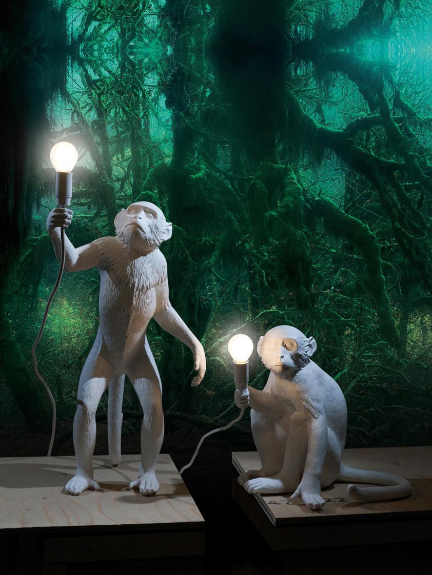 Design-Tischlampe Monkey, Weiß, 34 x 32 cm