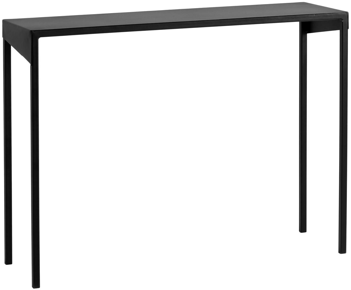 Sidetable Obroos in zwart, Gelakt metaal, Zwart, 100 x 75 cm