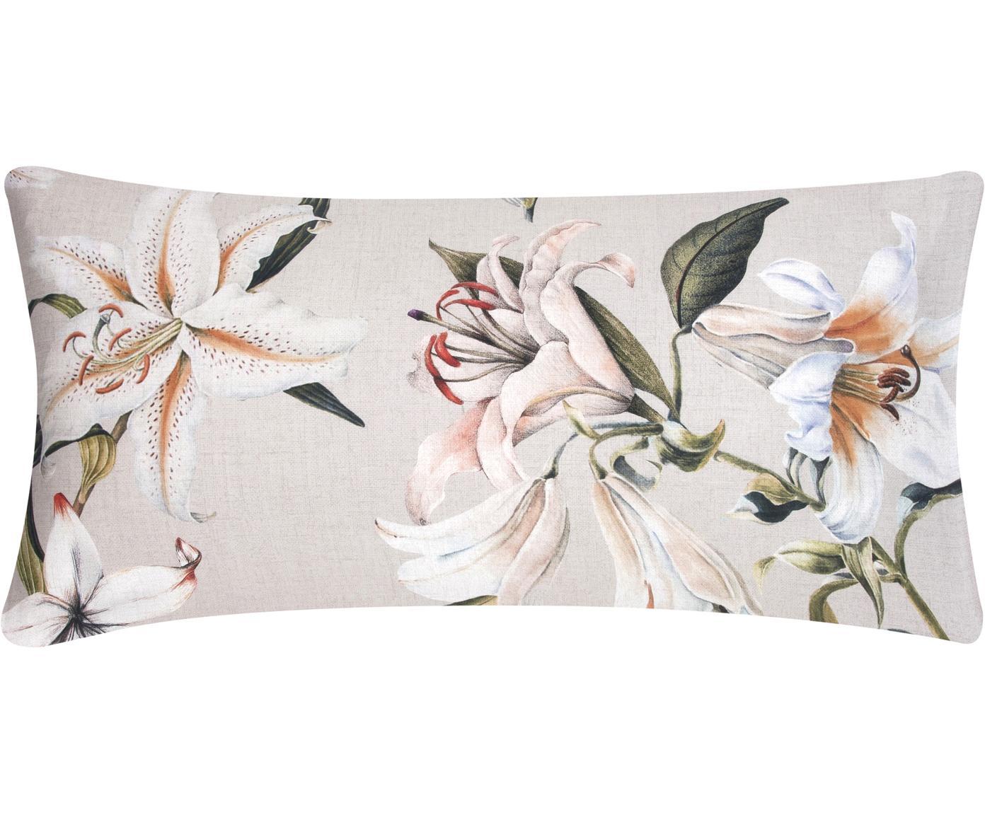 Baumwollsatin-Kissenbezüge Flori mit Blumen-Print, 2 Stück, Webart: Satin Fadendichte 210 TC,, Vorderseite: Beige, Cremeweiß Rückseite: Beige, 40 x 80 cm
