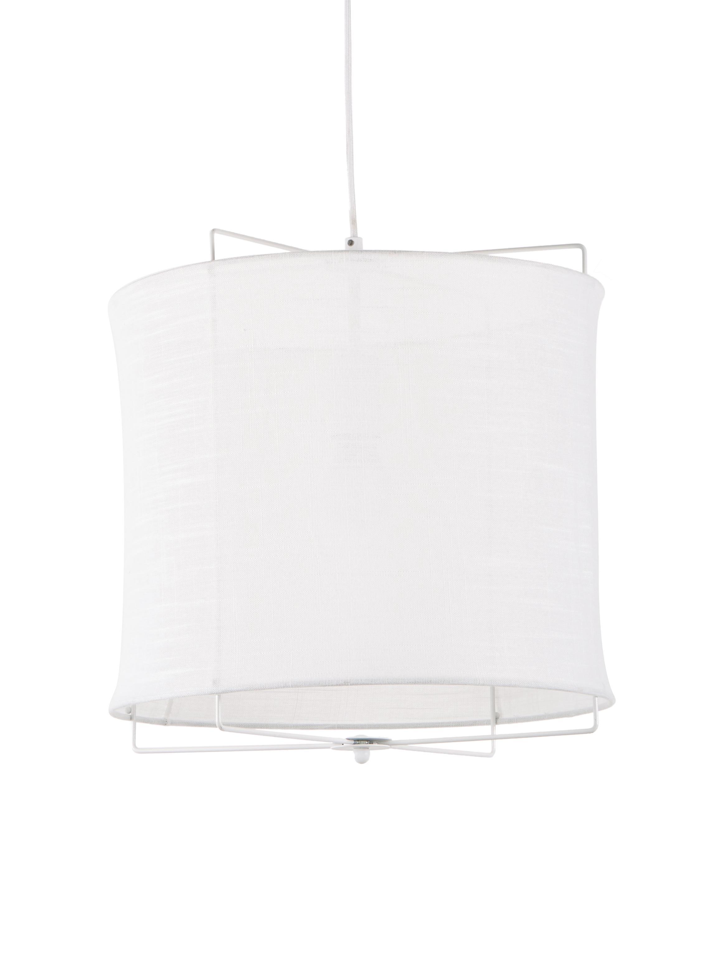 Lámpara de techo Clouds, Pantalla: lino, Cable: cubierto en tela, Blanco, ∅ 40 x Al 40 cm