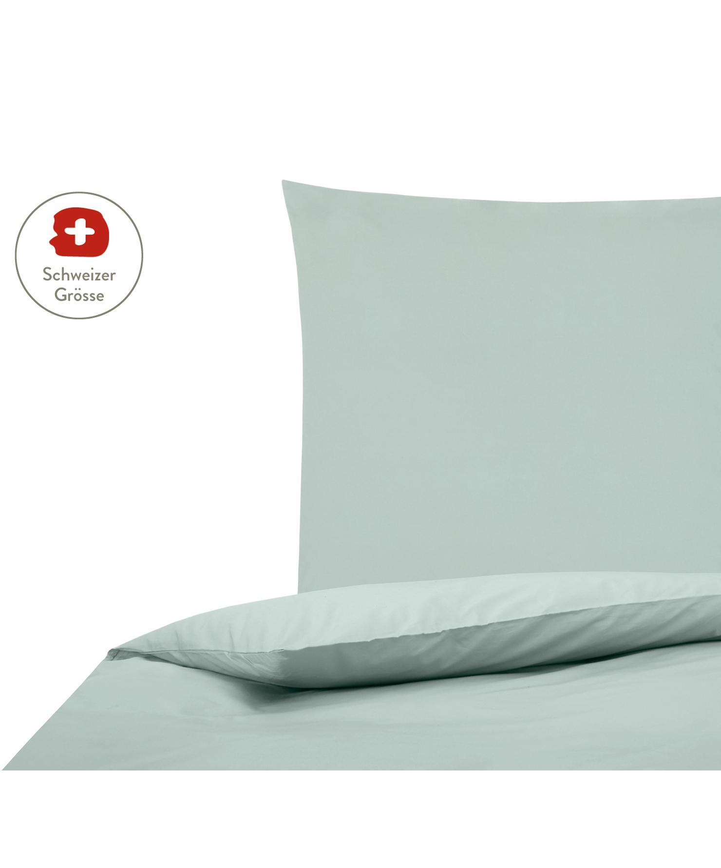 Baumwollperkal-Bettdeckenbezug Elsie in Salbeigrün, Webart: Perkal Fadendichte 200 TC, Salbeigrün, 160 x 210 cm