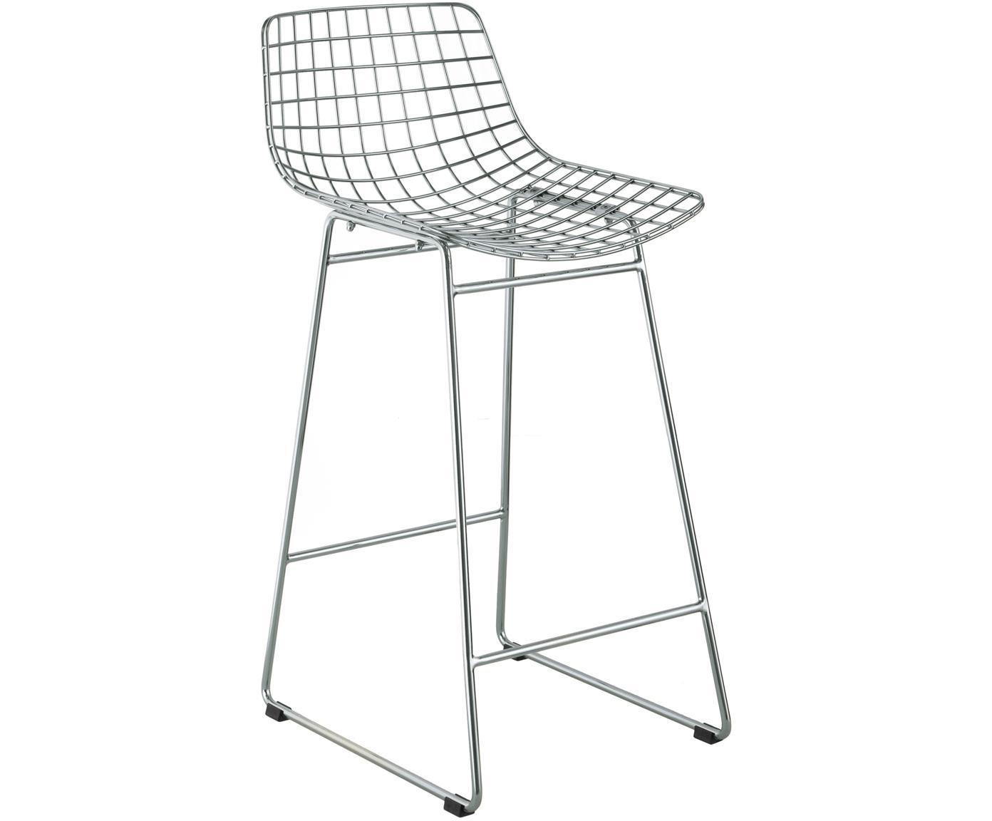 Sedia da bar in metallo color cromo Wire, Metallo cromato, Cromo, Larg. 56 x Alt. 86 cm