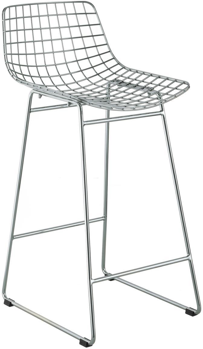 Metall-Thekenstuhl Wire in Chrom, Metall, verchromt, Chrom, 56 x 86 cm
