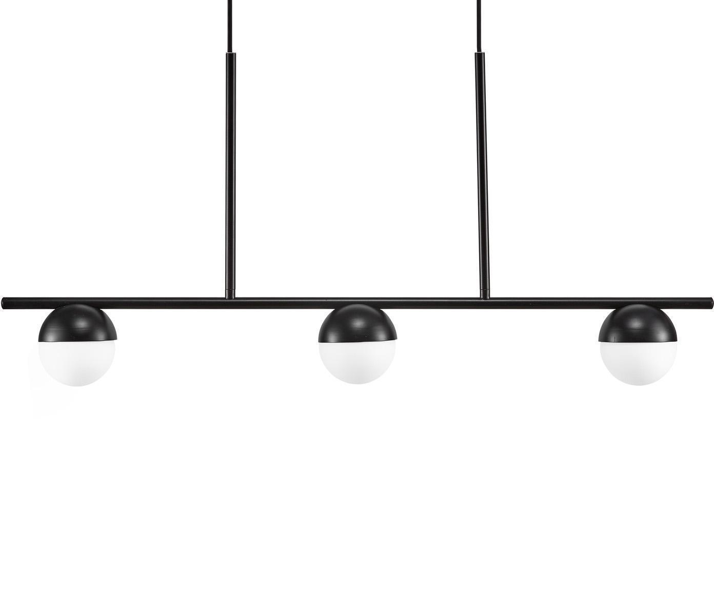 Lámpara de techo grande Contina, Pantalla: vidrio, Estructura: metal recubierto, Anclaje: metal recubierto, Cable: cubierto en tela, Blanco, negro, L 90 x Al 242 cm